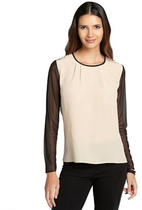 Nell nude and black sheer sleeves blouse