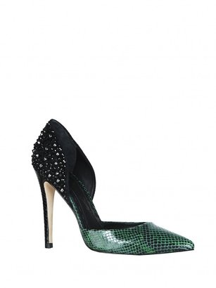Alice + Olivia Drea Shiny Snake Embellished Leather Heel