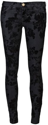 Current/Elliott THE ANKLE SKINNY BLACK FLORA