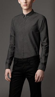 Burberry Slim Fit Textured Spot Cotton Shirt