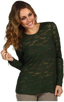 Juicy Couture Cire Lace Top (Juniper Green) - Apparel