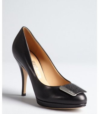 Salvatore Ferragamo black leather buckle toe 'Bia' pumps
