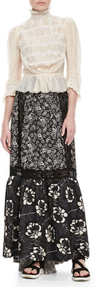 Marc Jacobs Lace-Inset Long Floral Skirt, Gray