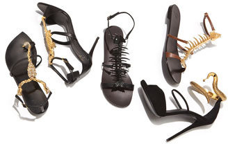 Giuseppe Zanotti 20th Anniversary Scorpion Sandal, Black/Gold