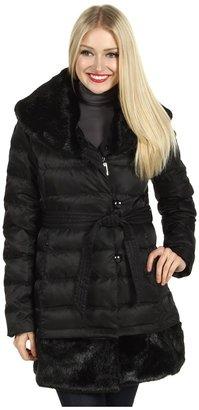 Ivanka Trump Faux Fur Collar and Hem Down Coat (Black) - Apparel