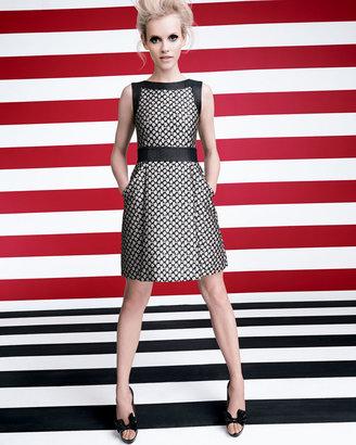 RED Valentino Sleeveless Floral Brocade Dress, Black/Cream