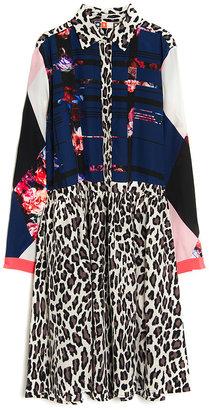 MSGM Patchwork and Leopard Shirt Dress