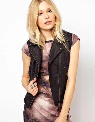 River Island Leather Look Studded Gilet