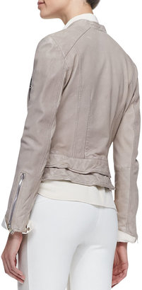 Richard Chai Andrew Marc x Waxed Lambskin Leather Leandra Jacket, Wisteria