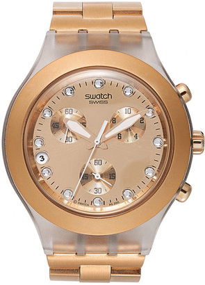 Swatch Unisex Swiss Chronograph Full Blooded Caramel Rose Gold-Tone Bracelet Watch 43mm SVCK4047AG $165 thestylecure.com