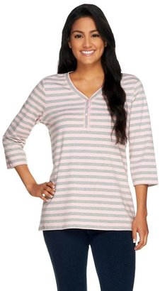 Denim & Co. 3/4 Sleeve Striped Knit Top
