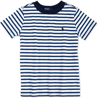 Ralph Lauren Striped Jersey Tee, White Multi, 2T-3T