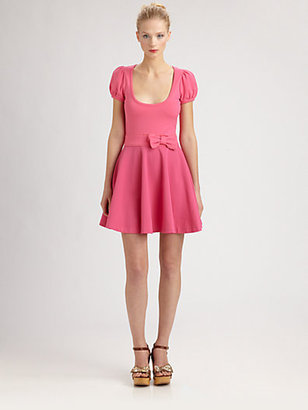 RED Valentino Jersey/Lace Bow-Waist Dress