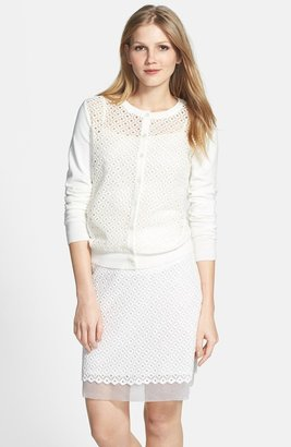 Vince Camuto Embroidered Eyelet Cardigan