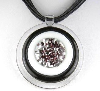 Murano Round Glass Pendant - Lucia Black/White