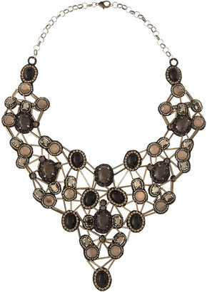 Deepa Gurnani Crystal and Glass Statement Necklace, Black/Gray