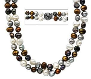 Lord & Taylor Baroque Multi Pearl Necklace with Sterling Silver clasp, 6-7MM