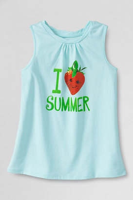 Lands' End Girls' Scented Love Summer Graphic Twisted Tank Top