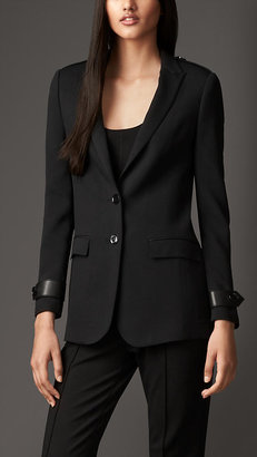 Burberry Leather Detail Relaxed Fit Jacket
