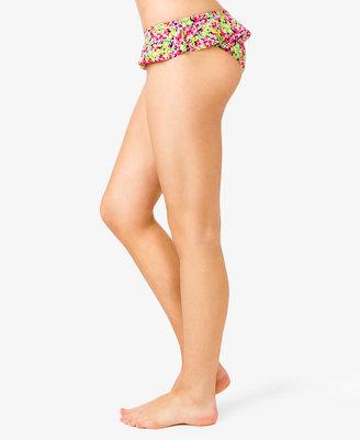 Forever 21 Floral Print Ruffled Bikini Bottoms