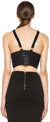 Cushnie et Ochs Leather Crop Top in Black