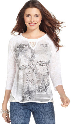 Style&Co. Petite Top, Three-Quarter-Sleeve Printed Lace-Trim