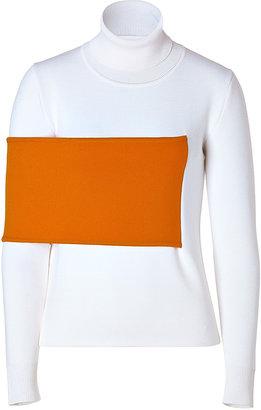J.W.Anderson Wool Blend Turtleneck in White/Orange