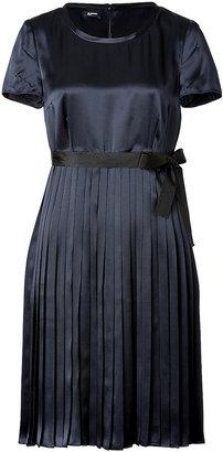 Jil Sander Navy Silk Pleated Dress in Navy
