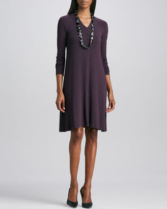 Eileen Fisher Cozy Long-Sleeve Jersey Dress