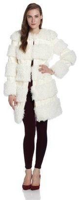Anna Sui Women's Mongolian Faux Fur and Ombre Striped Coat