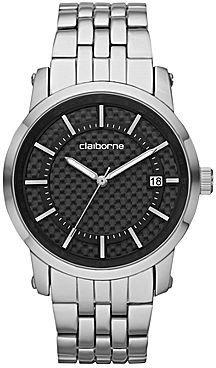 Claiborne Mens Silver-Tone Watch