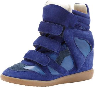 Isabel Marant Burt High-Top Wedge Sneaker, Blue