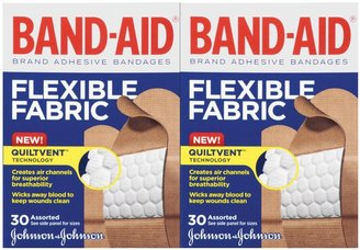 Safety First Band-Aid Flexible Fabric Adhesive Bandages Assorted Sizes, 2 pk