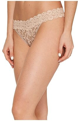 Hanky Panky Cross-Dyed Signature Lace Original Rise Thong (Taupe/Vanilla) Women's Underwear