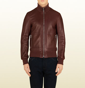 Gucci Brick Red Leather Bomber