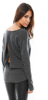 Feel The Piece Cashmere Split Back Sweater in Charcoal