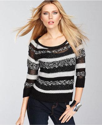 INC International Concepts Sweater, Three-Quarter-Sleeve Multi-Metallic Stripe