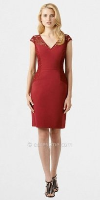 Adrianna Papell V-Neck Lace Cap Sleeve Office Dresses