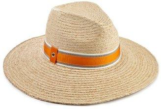 Hat Attack Women's Raffia Braid Continental Fedora Hat