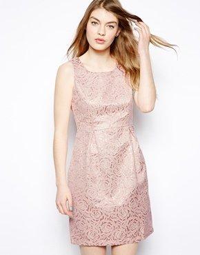 Yumi Metallic Jacquard Dress
