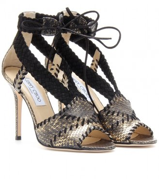 Jimmy Choo TAPER SNAKESKIN STILETTO SANDALS
