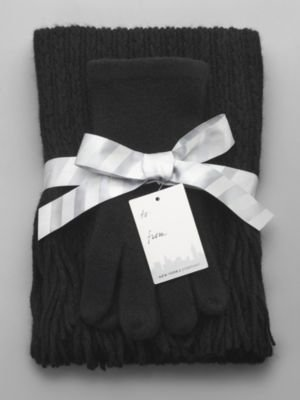 New York & Co. Cable Scarf & Gloves Set