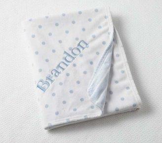 Pottery Barn Kids Dot & Stripe Chamois Baby Blanket, Lavender