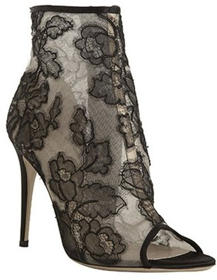 Valentino black floral lace peep toe booties