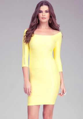 Bebe Open Sleeve Shine Bodycon Dress
