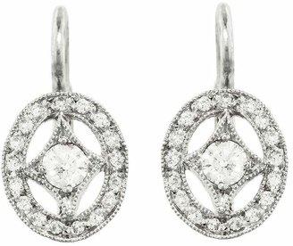 Cathy Waterman Oval Diamond Frame Earrings - Platinum