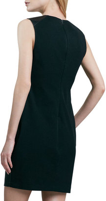 Robert Rodriguez Leather-Front Sleeveless Dress