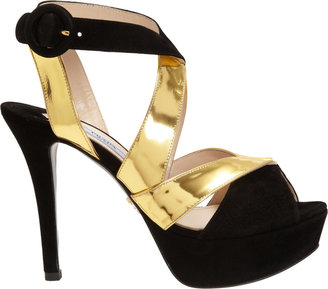 Prada Combo Crisscross Effect Platform Sandal