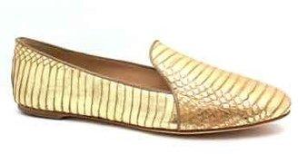 "Brian Atwood B Claudelle"" Gold Metallic Croc Print Leather Smoking Shoe"