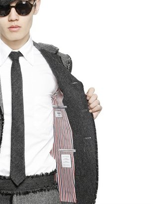 Thom Browne Frayed Herringbone Shetland Wool Jacket